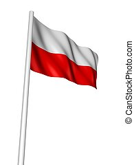 flag of poland - 3d rendered illustration of the polish...