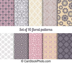 Pastel flowers backgrounds, vector seamless floral patterns