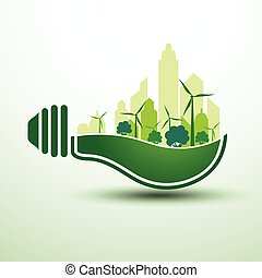Green idea - Ecology idea green bulb with city vector...