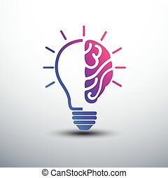 brain idea - Creative brain Idea concept with light bulb...