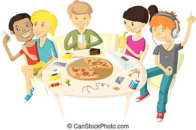 Friends in pizzeria - Vector illustration with friends...