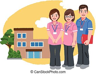 Smiling caregivers in pink uniform and nursing house - Three...