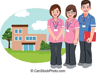 Smiling caregivers with nursing house background - Three...