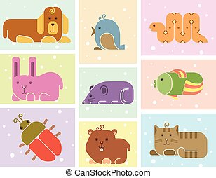 Zoo animals icons - stylized art background