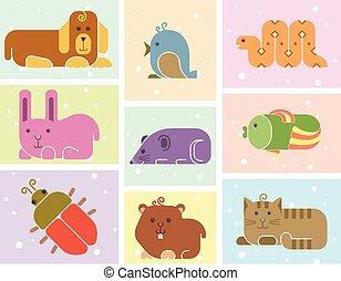 Zoo animals icons - stylized art background