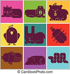 Zoo animals icons - stylized seamless background