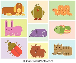 Zoo animals icons - stylized background