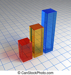 3d chart from glass on the sheet
