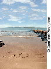 s o s beach - sos inscribed on the beach with waves in the...