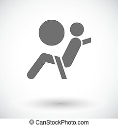 Seat belt. Single flat icon on white background. Vector...
