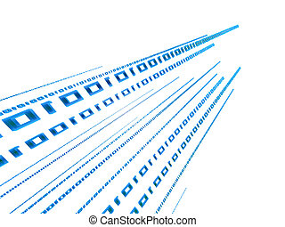 binary stream - 3d rendered illustration of a blue digital...