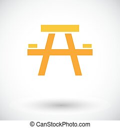 Camping table. Single flat icon on white background. Vector...