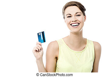 Finally i got my cash card. - Cheerful woman showing her new...
