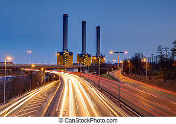 Power generating plant at night - Power generating plant and...