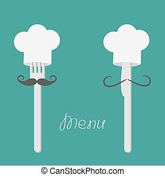 Two forks with big mustaches and chefs hats. Menu card. Flat...