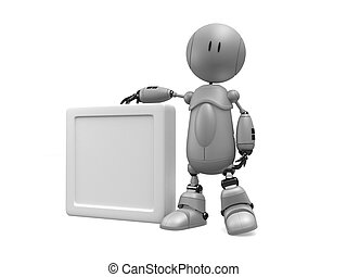 blank sign - 3d rendered illustration of a little robot with...