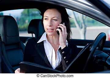 business - a woman in suit discussing business on telephone...
