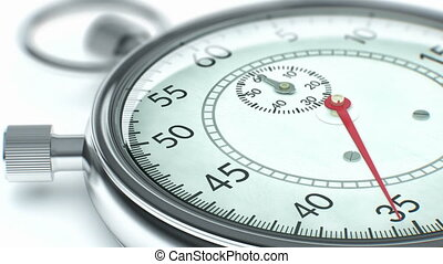 Close up of ticking chronometer - Real-time speed stopwatch....