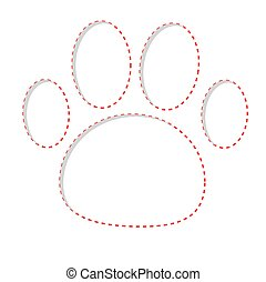 Paw print with red dash line. Empty frame template.
