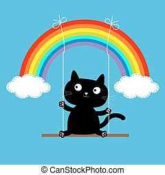 Rainbow two clouds in the sky and cat on swing. Dash line. Love card.