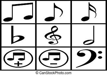 Collection of black musical note on white background