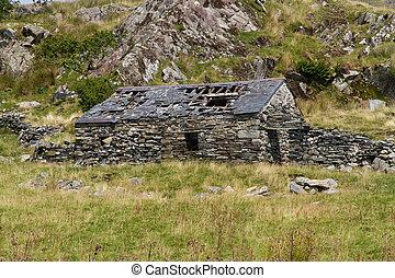 Ruin of stone cottage, United Kingdom - Derelict stone...