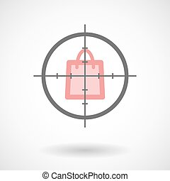 Crosshair icon with a shopping bag - Illustration of a...