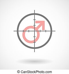 Crosshair icon with a male sign
