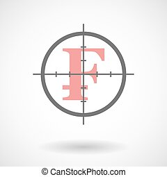 Crosshair icon with a swiss frank sign - Illustration of a...