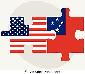 USA and Samoa Flags in puzzle - Vector Image - USA and Samoa...