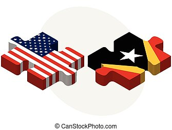 USA and Timor-Leste Flags in puzzle - Vector Image - USA and...
