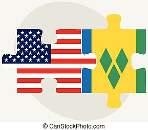USA and Saint Vincent and the Grenadines Flags in puzzle -...