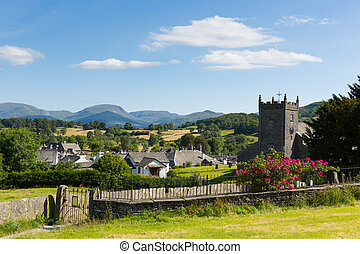 Hawkshead village Cumbria UK roses - Hawkshead Cumbria UK in...