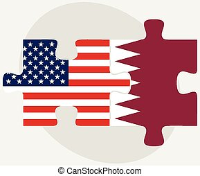 USA and Qatar Flags in puzzle - Vector Image - USA and Qatar...