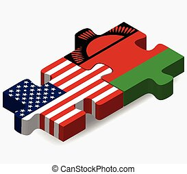 USA and Malawi Flags in puzzle - Vector Image - USA and...