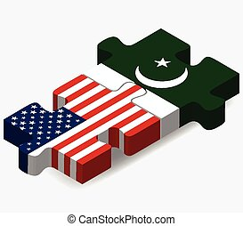 USA and Pakistan Flags in puzzle - Vector Image - USA and...