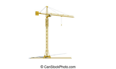 Animation work yellow tower crane. Cabin is empty. White...