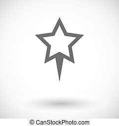 Star pin Single flat icon on white background Vect