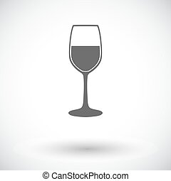 Wine flat icon - Wine glass. Single flat icon on white...