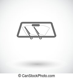Wiper car single icon - Wiper car Single flat icon on white...