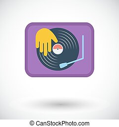 Turntable Single flat icon on white background Vector...