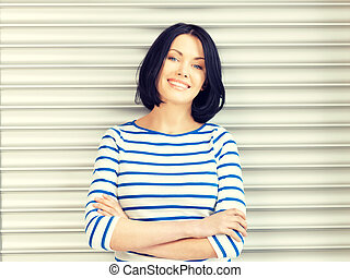 happy and smiling woman - bright picture of happy and...