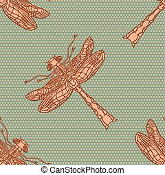 Dragonfly seamless pattern.