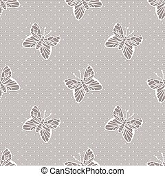 Gentle dotted lace with butterflies - Gentle elegant dotted...