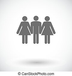 Group sex sign - Group sex Single flat icon on white...