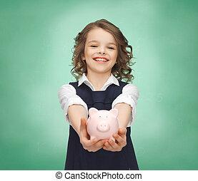 palmas,  piggy, segurando, menina, banco, Feliz