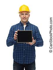 smiling male builder in helmet with tablet pc - repair,...