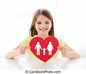 smiling little girl with red heart and family - love, home,...