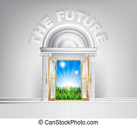 Door to the future concept - Future door concept. A...