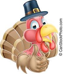 Cartoon Turkey in Pilgrim Hat - Cartoon thanksgiving turkey...